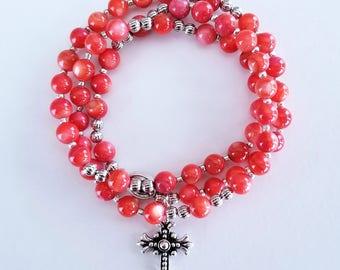 Red-Orange Shell Stretch Rosary Bracelet