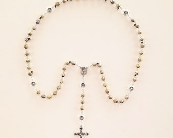 Stone / Taupe Crystal Divine Mercy Rosary