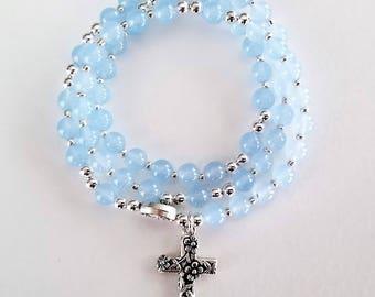 Translucent Light Blue Jade Stretch Rosary Bracelet