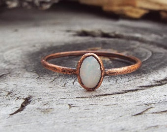 Opal Engagement Ring | Copper Electroformed Alternative Engagement Ring | US Size 6 1/2