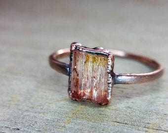 Peach Tourmaline Crystal and Copper Electroformed Ring  //  Raw Stone Copper Electroformed Ring  //  US Size 7 1/2