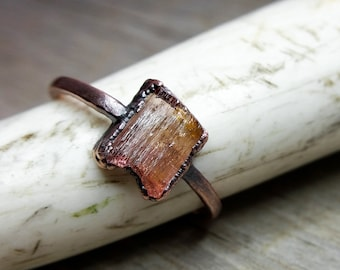 Peach Tourmaline Alternative Engagement Ring  //  Copper Electroformed Raw Stone Ring  //  US Size 7 1/2