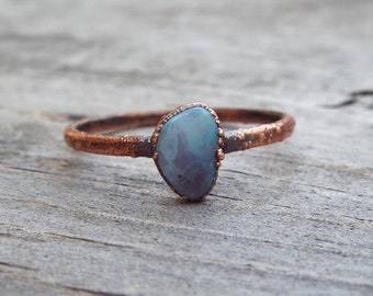 Peruvian Blue Opal Alternative Engagement Ring | Copper Electroformed Ring | Size 7 1/2