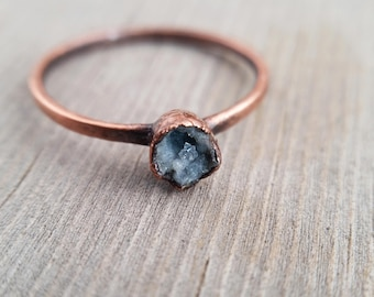 Tiny Geode and Copper Electroformed Ring | Size 5 1/2