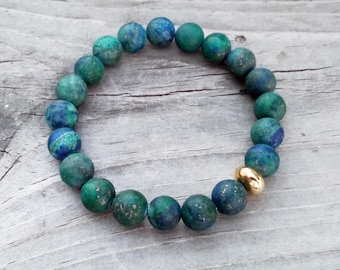 Azurite | Personalize a Mala Bracelet | Choose from a wide selection of natural gemstone beads and precious metal accents