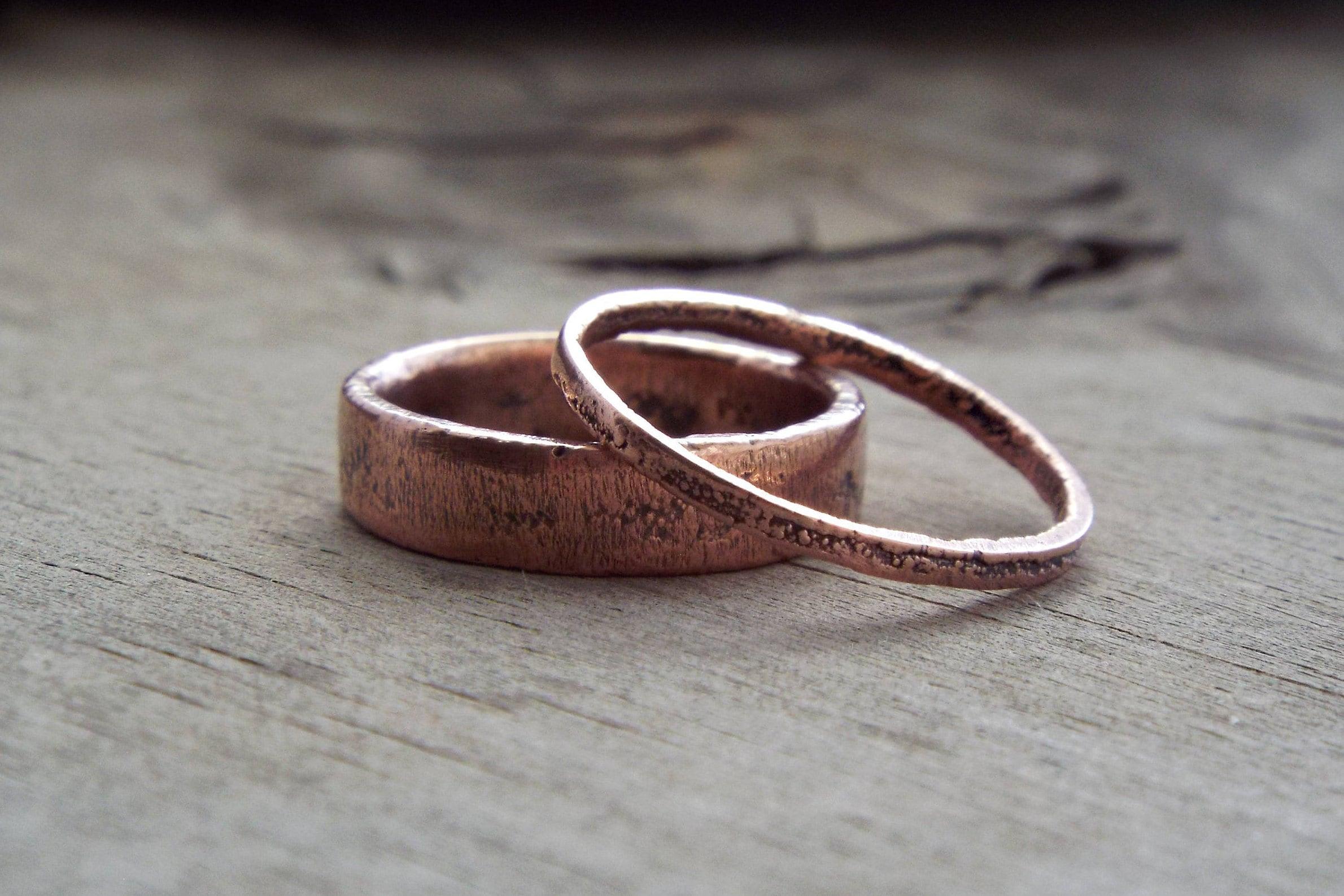 64376da9fdde7 Textured Copper Wedding Bands | Copper Electroformed Rustic Wedding Bands |  Made to Order