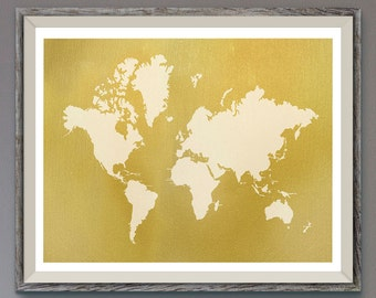 World Map Gold on White Printable File,Gold on White Map Silhouette,Gold  Wall Art,Home & Office Decor Digital Print, Instant Download Art