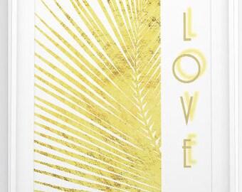 gold palm leaf,gold palm print,tropical wall art,palm print,modern wall deco,botanical gold print,tropical leaf summer print,summer wall art