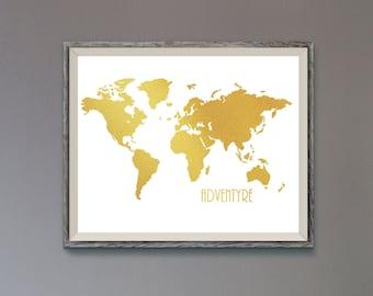 Gold world map,World map Gold poster, Gold world map print, World Map Silhouette Gold,World map poster, Modern Wall Art, Home Office Decor,