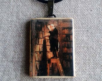 Ceramic chain pendant with a miniature kunstdruck after Carl Spitz
