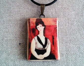 Ceramic chain pendant with a miniature art print according to Amadeo Modigliani