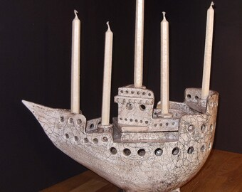 decorative candle holder as a ceramic vessel