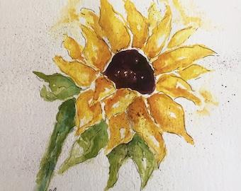 Sunflower - Sunflower art, flower art, Shabby chic decor,  Garden Art, Mothers Day, Girl bedroom art, Bathroom art, Watercolour flowers