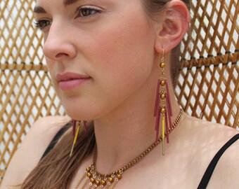 Tropicana Grape Tropical Long Fringe Maroon Statement Earrings