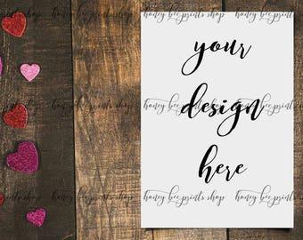 Valentines Mockup Valentines Card Mockup Card Template Card Etsy