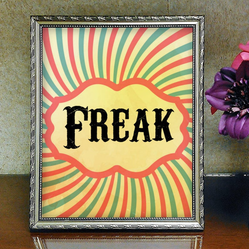 photograph regarding Circus Circus Coupons Printable identified as Freak, Printable, Freak Present, Circus Printable, Freak Print, Circus Print, Wall Artwork, Printable Wall Artwork, Electronic Printable, Aesthetic, Goth