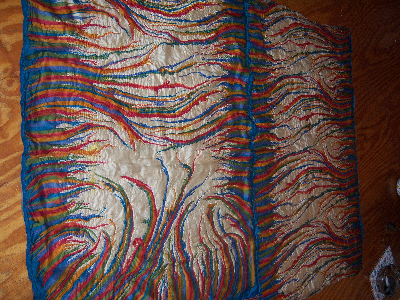 Couleur Multi bleu s'entremêlent tous soie couette Double Reine Vintage taille Saris Indiens main matelassé