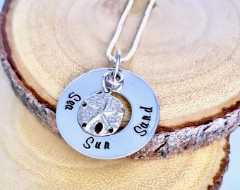 Beach Necklace Women, Sand Dollar Jewelry, Hand Stamped Necklace, Sea Sand Sun Necklace for Her, Seashell, Summer Sterling Silver Pendant