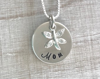 Dragonfly Mom Necklace, Cubic Zirconia Dragonfly, Gift for Mom, Birthday Gift for Mom, Mother's Day Gift