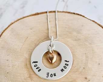 Hand Stamped Necklace, Gift  for Wife/Mom, Love You Most, Gift for Daughter, Sterling Silver Gift, Rose Gold Heart, Mother's Day Gift,