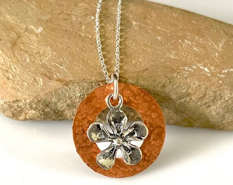 Mixed Metal Flower Necklace, Copper and Silver Pendant, Plumeria Charm, Sterling Silver Jewelry, Gift for Her