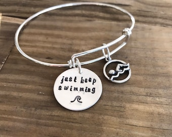 Swim Charm Bracelet, Love to Swim, Sporty Girl, Just Keep Swimming Bracelet, Swim Team bracelet, Bracelet for her, Swim Coach Gift, Swimmer