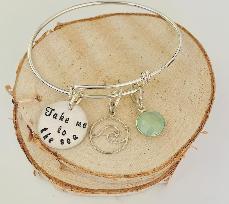 Summer Bracelet Sterling Silver Adjustable Bracelet Wave Charm Beach Bangle Charm Bracelet for Her Ocean Blue Stone Sea Lover Gift