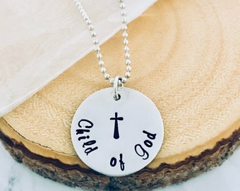Communion Gift, Confirmation Necklace, Gift from Sponsor, Hand Stamped Necklace, Sterling Silver, Cross Necklace, Religious jewelry, Easter