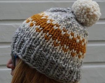 Tri-Color Pom Pom Hat