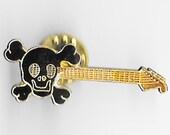 Vintage BLACK SKULL Electric Guitar Bar Pin, Enamel Pin, Lapel, Hat, Pinback, Heavy Metal, Punk, rock n roll, Goth, 80s