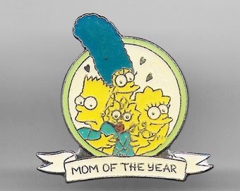Vintage MARGE SIMPSON 'Mom of the Year' Lapel Pin, Enamel Pin, Pinback, Hat Pin, The Simpsons, Bart, Lisa, Maggie, Homer, Mother's Day