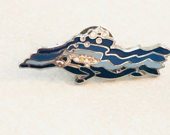 Swimming Bar Pin Badge in Blue Enamel