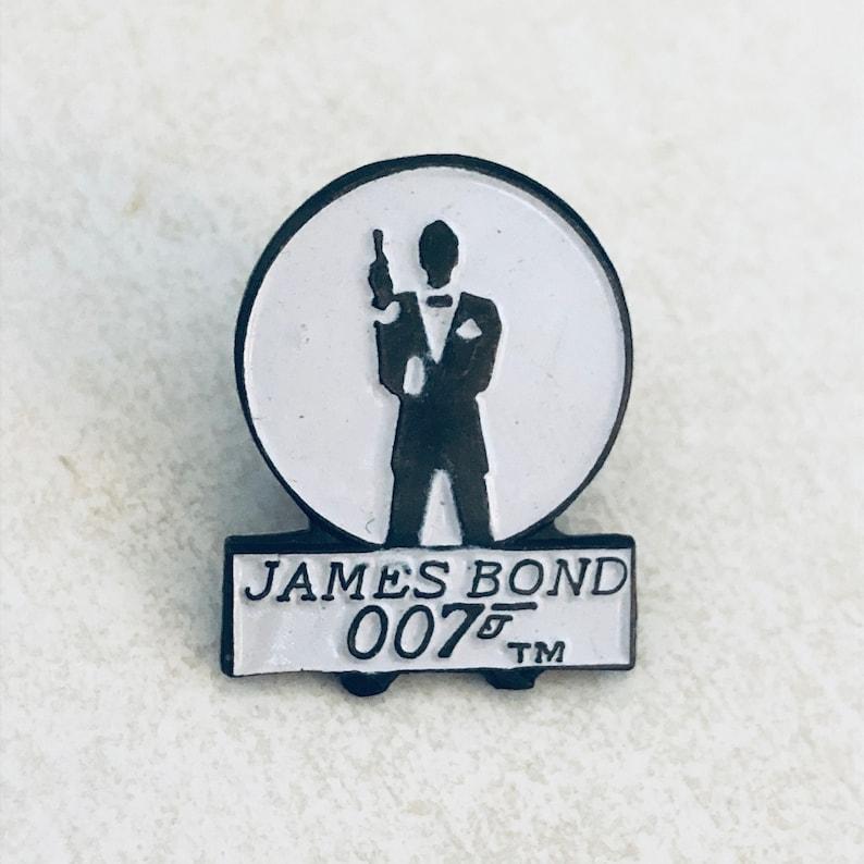 Pin back Hat Pin Vintage JAMES BOND 007 Lapel Pin 80s 90s Enamel Pin