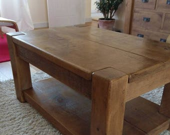 Rustic plank Furniture New Real Solid Wood Chunky Style Rustic Plank Pine Furniture Coffee Table with shelf rustic pine furniture sawn new