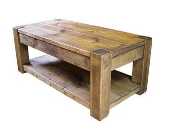 Rustic plank Furniture New Real Solid Wood Chunky Style Rustic Plank Pine Furniture Coffee Table with shelf rustic pine
