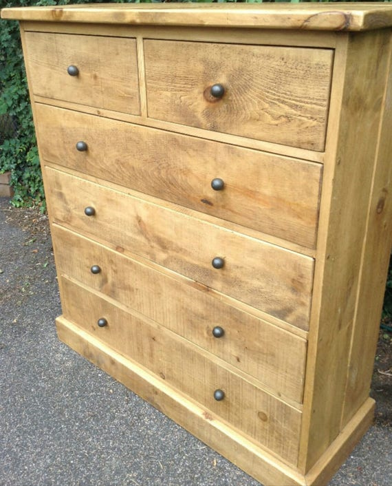 Rustic Plank Furniture New Real Solid Wood Chest Of Drawers Etsy