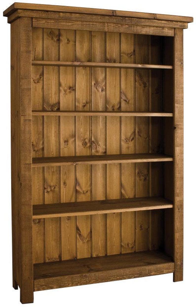 Rustic Plank Furniture New Real Solid Wood Bookcase Bookshelves Sideboard Base Sawn Pine Textured Finish Shelving Unit Indigo Furniture