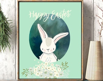 Easter print, Easter card, Easter decoration, Bunny Easter card, Easter cards, bunny wall print, printable Easter, Easter wall art, Green