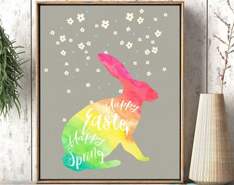 Easter decoration, Bunny Easter card, Easter print, Easter card, Easter cards, bunny wall print, printable Easter, Easter wall art, rainbow