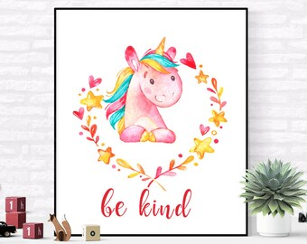 Be Kind Print, Unicorn Wall Art, Nursery Printable, Nursery Illustration, Unicorn Print, Unicorn Printable, Unicorn Quote , child room art