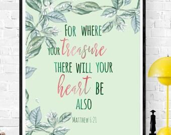 christian nursery matthew 6 21 bible verse print christian decor for where your treasure is scripture art printable bible verse