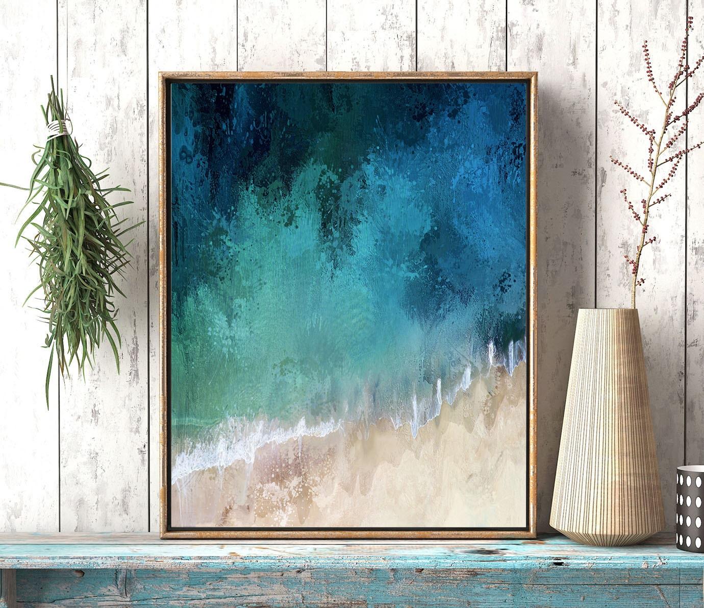Abstract coastal art ocean wave wall art wave art print blue aqua abstract art print abstract coastal artwork ocean printable art