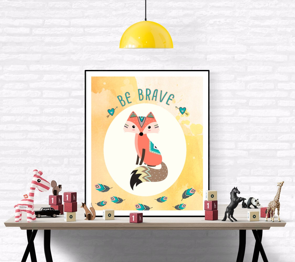 Fox Nursery Art Be Brave Quote Nursery Fox Children Art | Etsy