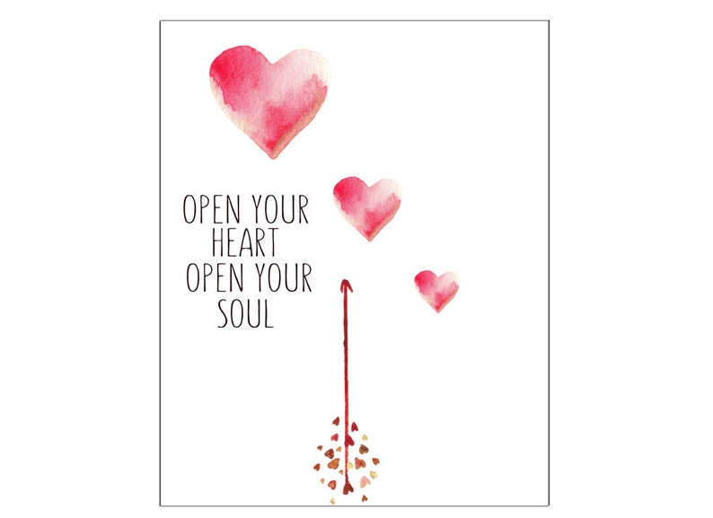 Open Your Heart Open Your Soul Printable 8x10 Valentines Day Etsy