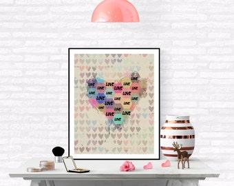 Love Print ,Heart Print, Printable Art, Modern Heart Print, Geometric Heart Art, Love Heart Print, Heart Poster, Vintage love poster