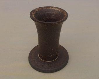 Candle holder black stoneware