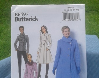 Misses / Misses Petite & Women's Jacket and Coats with Asymmetrical Front and Collar Variations-Butterick Sewing Pattern 6497 - Sizes 8 - 24
