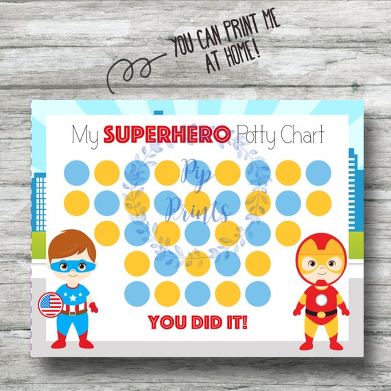 Printable Superhero Potty Training Chart Instant Download