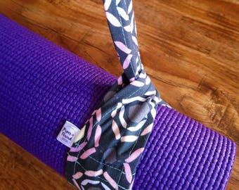 Geometric Cotton Yoga Mat Strap, Yoga Mat Strap, Cotton Yoga Mat Strap, Pilates Mat Sling, Pilates Mat Strap, Pilates, Purple, Yellow, Grey