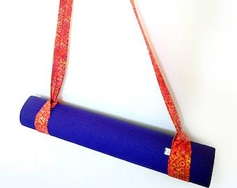 Orange Yoga Mat Strap, Batik Yoga Mat Strap, Cotton Yoga Mat Strap, Pilates Mat Sling, Pilates Mat Strap, Batik, Pink, Yellow, Orange & Pink